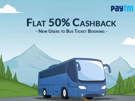 Paytm - Get Flat 50% Cashback on Booking Bus Ticket (Max. Rs.50)