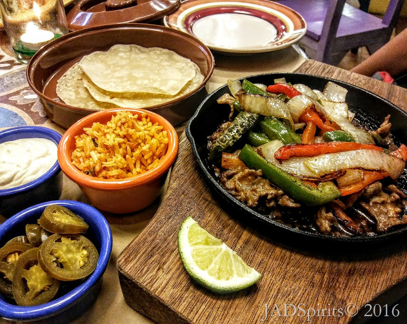 For me, Steak Fajita, marinated meat cooked with onions and bell peppers served sizzling with four pieces of soft tortilla, also available, shredded beef or chicken