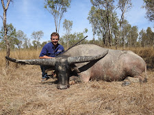 Chris Miers with a very very wide buffalo, 79 inches actually!!! The widest we have ever seen!!