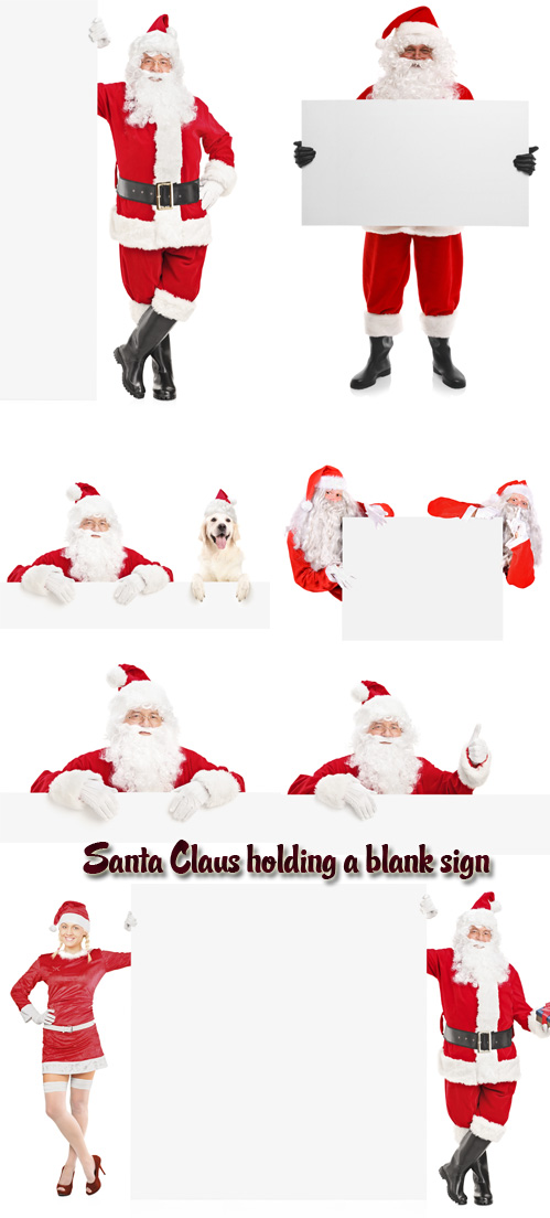 Stock Photo: Santa Claus holding a blank sign