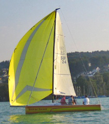 J70 one-design sailboat- sailing on Swiss Lake
