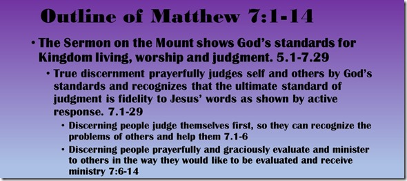 Outline of Matthew 7.1-14