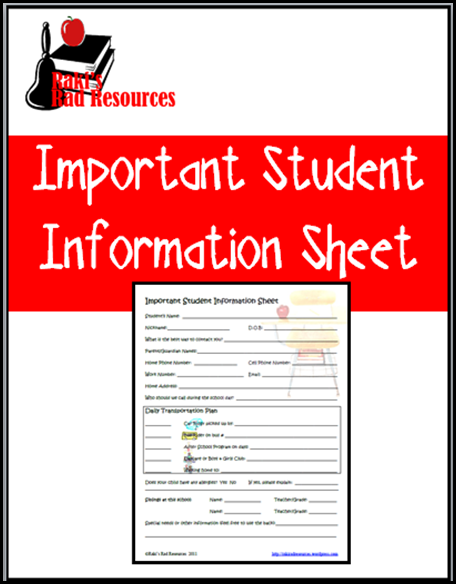 free student information sheet to keep information about your students - free download from Raki's Rad Resources