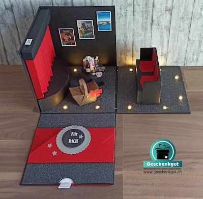 Geschenkbox Explosionsbox Überraschungsbox Geldgeschenk Gutschein Kino