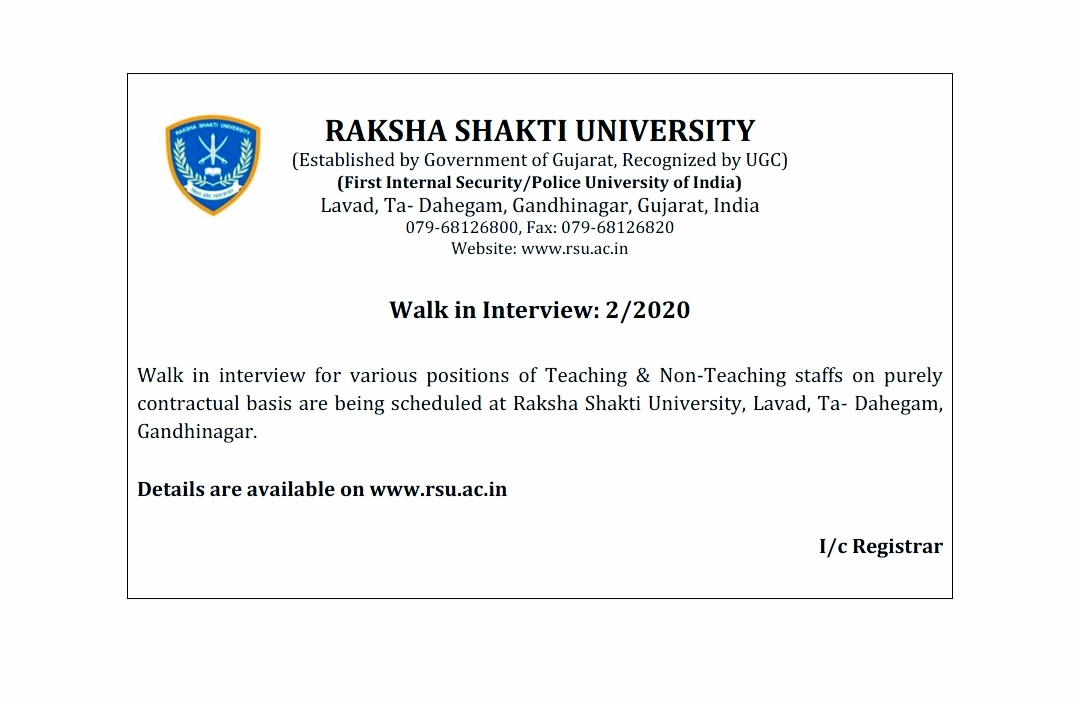 Raksha Shakti University Recruitment for various Teaching and Non-Teaching Post 2020 Notification