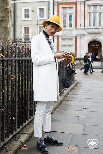 Donya Campbell; stylist; bailey of Hollywood hat; Zara coat; Zara rollneck; Zara trousers; Paul Smith shirt; Paul Smith socks; Paul Smith shoes; Fendi bag;