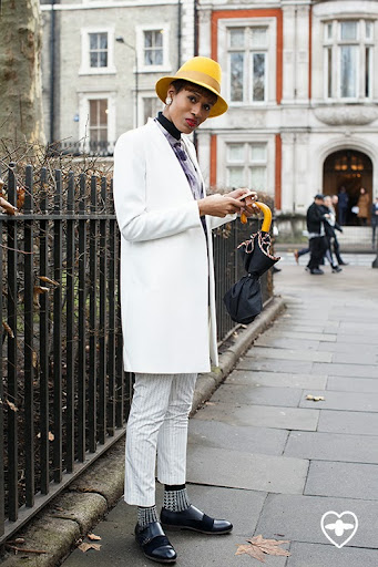 Donya Campbell; stylist; bailey of Hollywood hat; Zara coat; Zara rollneck; Zara trousers; Paul Smith shirt; Paul Smith socks; Paul Smith shoes; Fendi bag;