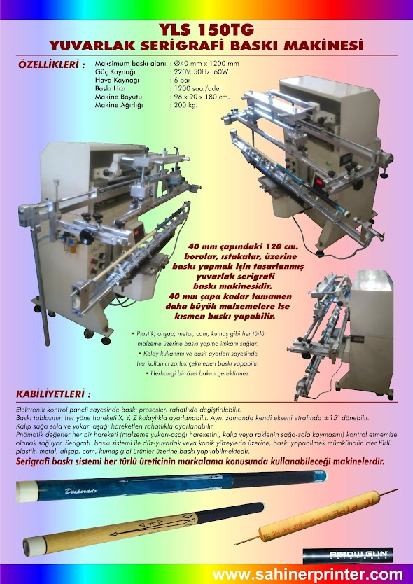 YLS 150TG 4x120cm Yuvarlak Serigrafi Baskı Makinesi