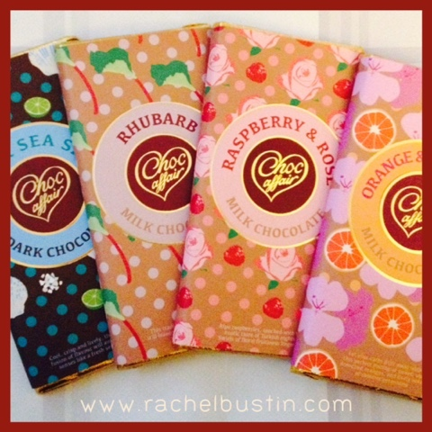Choc Affair: Chocolte Bars, Rhubarb, lime and sea salt, raspberry and rose, orange and geranium