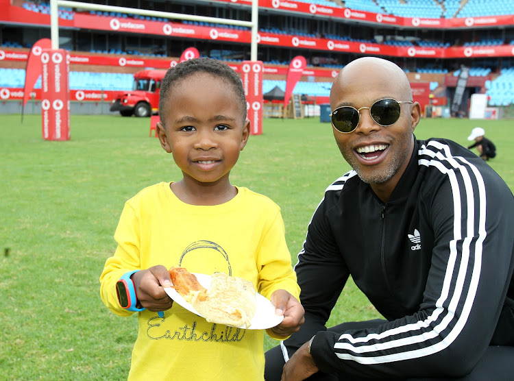 Thapelo Mokoena and his son, Lereko, at the Father-Son Sleepout hosted at Loftus Versfeld Stadium this past weekend.