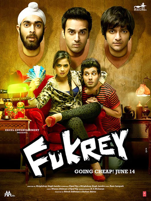Poster Of Hindi Movie Fukrey (2013) Free Download Full New Hindi Movie Watch Online At Alldownloads4u.Com