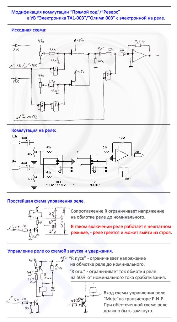 Схема управления реле с