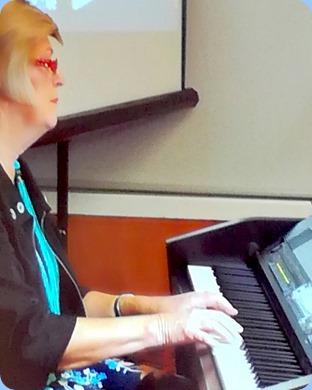 Kay Boyes playing the Clavinova CVP-509. Photo courtesy of Dennis Lyons.