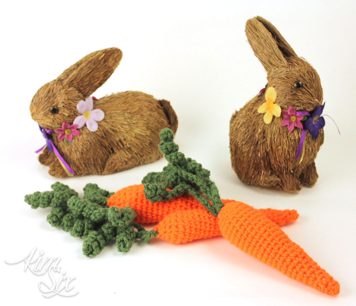 Crocheted decorative carrots for easter