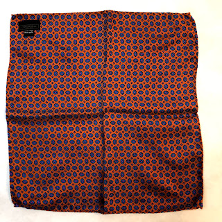 Saks Fifth Avenue Orange/Blue Paisley Pocket Square