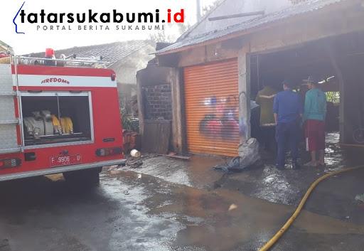 Bengkel dan Depot Bensin di Nagrak Sukabumi Terbakar // Foto : Isep Panji