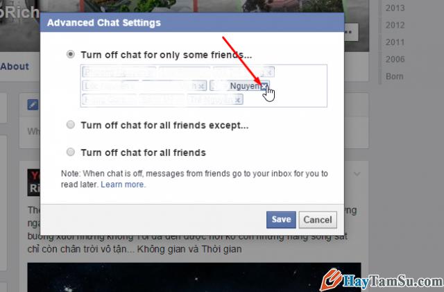 mở khóa chức năng chat facebook