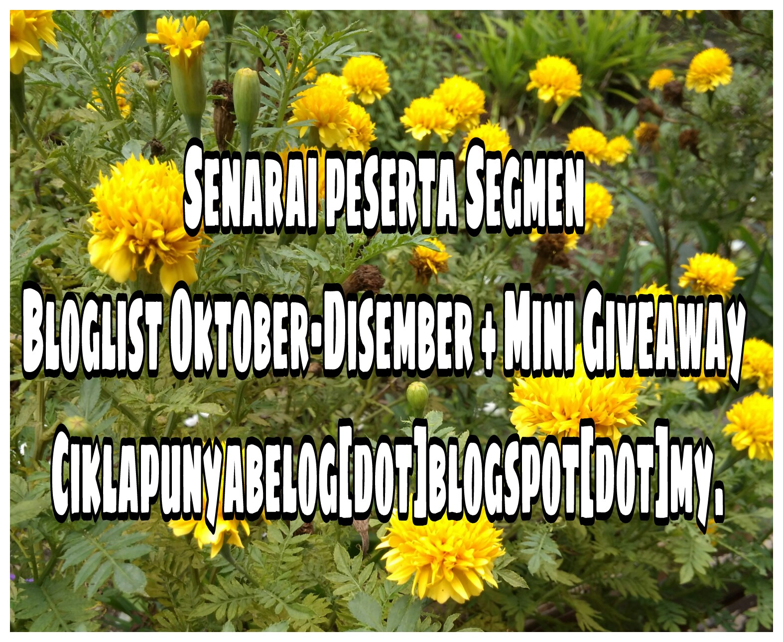 Senarai peserta Segmen Bloglist Oktober-Disember + Mini Giveaway Ciklapunyabelog[dot]blogspot[dot]my.