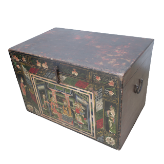 Chinese 19th C. Lacquered Opera Trunk