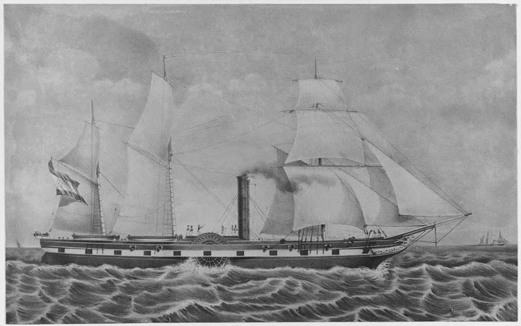 Vapor REGENTE, antes LEON y despues DON ALVARO DE BAZAN. Litografia pintada por John Endicott. Naval History and Heritage Command.tiff