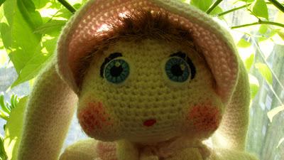 close up of Amigurumi rabbit face
