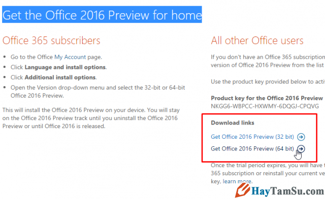 Tải Microsoft Office 2016 Preview