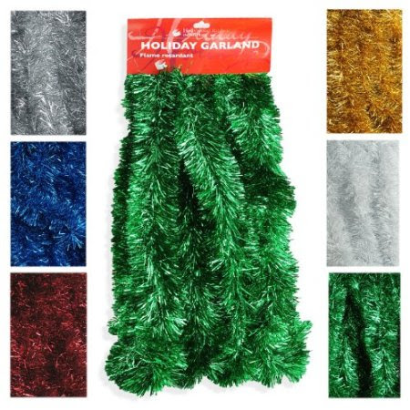Elegant Hanging Tinsel Garland 3-Inch x 15-Feet - Choose from 6 Holiday Colors