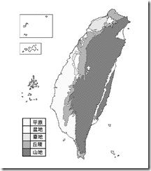 臺灣地形分布圖_黑白_無字