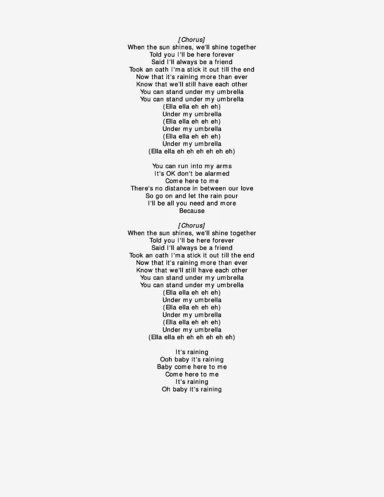 rihanna umbrella lyrics yahoo