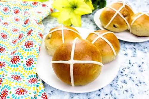 """Easy Hot Cross Buns """"Warm out of the oven with a pat..."""
