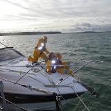 Poole crew members Rob Inett and James Kilburn aboard the motorboat - 9 November 2013.  Photo credit: Paul Taylor, RNLI/Poole