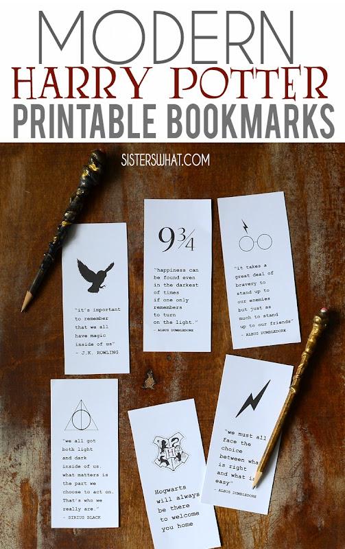 modern harry potter book marks printable