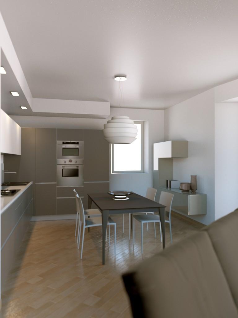 Progettazione arredamento con rendering 3dcarminati e sonzogni - Separazione cucina soggiorno ...