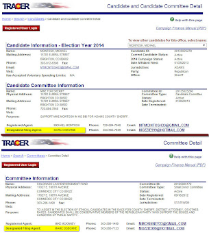 Colorado Secretary of State records show the same person as the Designated Filing Agent for the McIntosh campaign and for the Colorado Law Enforcement Fund. Click for a larger view. (Colorado Secretary of State).