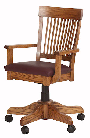 Lancaster Office Swivel Chair with Casters and Rounded Fabric Seat in Rustic Oak