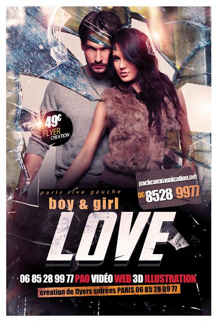 création flyers soirées thème boy and girl LOVE
