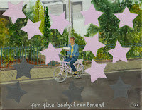 'for fine bodytreatment', oil on canvas, 25x30, Kuthumi carrying some yammi cake to me, sitting his pink bicylette, the effect of eating it will be: all the grey cells (grey stars) will transform into LOVE- Light cells (pink stars)...