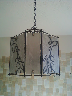 Brass and Glass Chandelier after adding paper