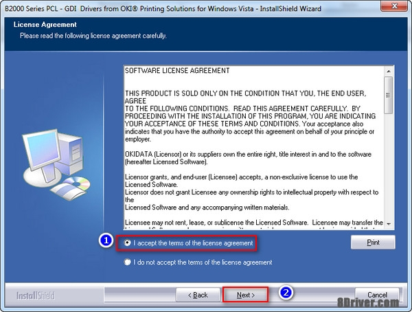 Accept the License Agreement OKI C830dn inkjet printer driver