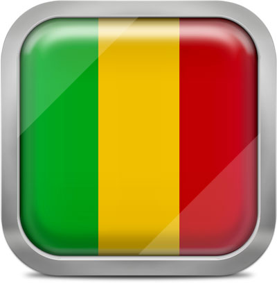 Mali square flag with metallic frame