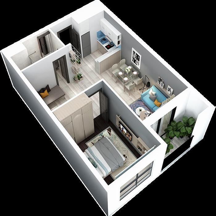 Phối cảnh 3D căn hộ 1 phòng ngủ + 1 phòng đa năng DT: 52,28m²