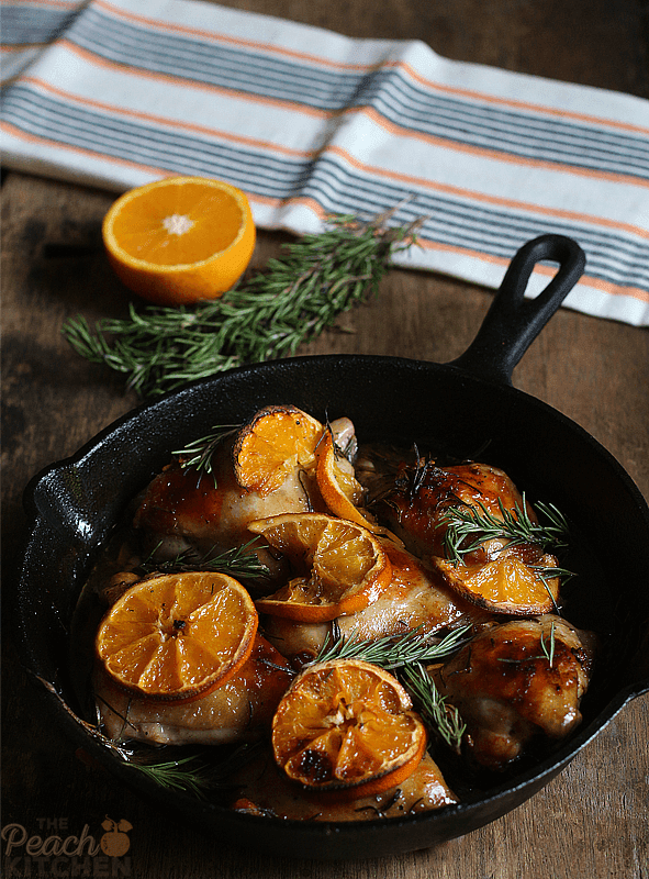 Orange Rosemary Roasted Chicken Thighs | The Peach Kitchen