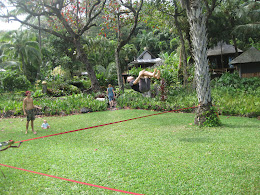 Slack lining... these guys were doing back-flips off the line!