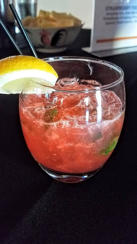 Bites and Drinks at CigarBQue Portland 2016: Lindsay Druhot made Strawberry Fields with Aviation Gin, Pok Pok Som Strawberry Drinking Vinegar, Aperol, Fresh Lemon, and Mint
