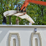 Hoisting the dome parts to the roof