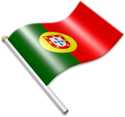 The Portuguese flag on a flagpole clipart image