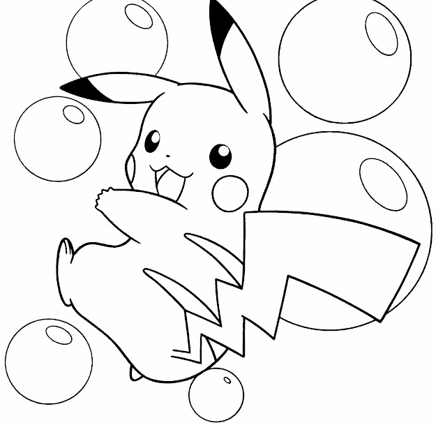 Pokemon Pikachu Is Happy Coloring Pages