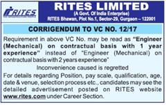 RITES Corrigendum Notice VC No 12-17