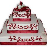 4. kép: Esküvői torták - Esküvői három szintes bordó szalagos torta