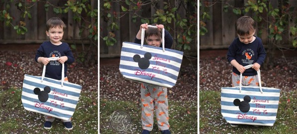Toddler with personalized Disney Tote bag2